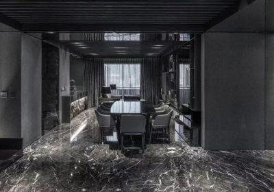 Ngôi nhà sang trọng với sắc đen huyền bí sử dụng tấm đá ốp tường siêu nhẹ